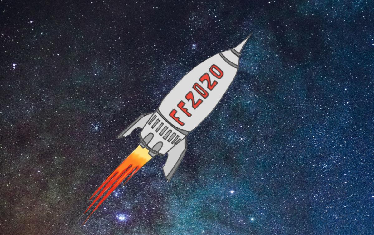 Eine Rakete mit der Aufschrift FF2020, fliegt diagnoal durch das Weltall.