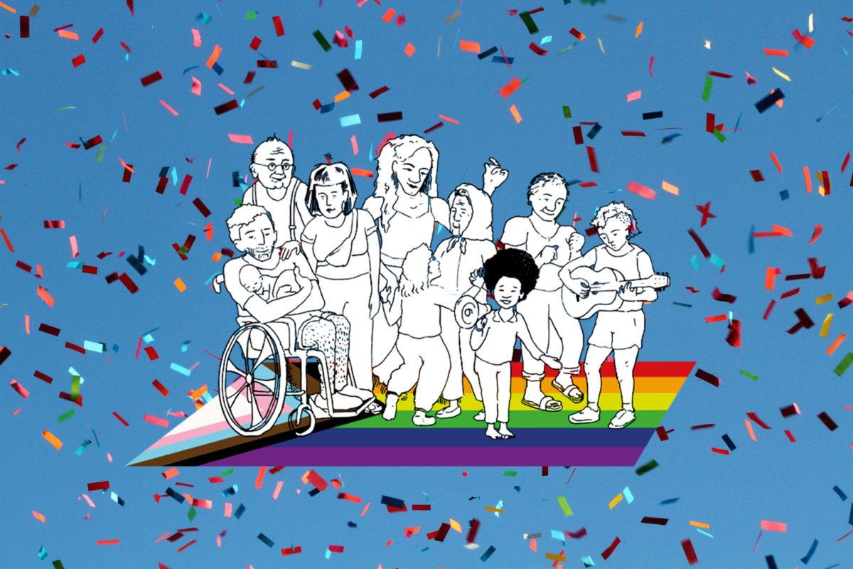 9 Menschen: alt, jung, klein groß, 1 Person im Rollstuhl schweben auf einem bunten Teppich durch Konfetti in der Luftft